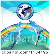 Clipart Globe With A Rainbow And Dolphins 1 Royalty Free Vector Illustration by merlinul