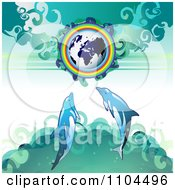 Clipart Globe With A Rainbow And Dolphins 2 Royalty Free Vector Illustration by merlinul