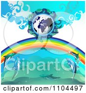 Clipart Globe With A Rainbow And Dolphins 3 Royalty Free Vector Illustration by merlinul