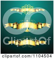 Golden Ribbon Banners And Swirls With Stars Over Turqoise