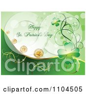 Clipart Happy St Patricks Day Gretting With Shamrock Coins And Clover Vines 1 Royalty Free Vector Illustration