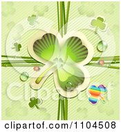 Clipart Shamrock With Ladybugs And Dew Over Diagonal Stripes Royalty Free Vector Illustration by merlinul