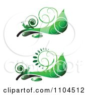 Ornate Swirl Leaves And Snails Design Elements 3
