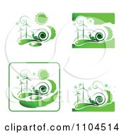 Clipart Green Wind Energy And Snail Icons 1 Royalty Free Vector Illustration by merlinul