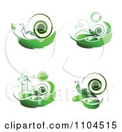 Green Wind Energy And Snail Icons 2