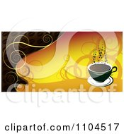 Clipart Hot Coffee Cup Banner With Steam And Swirls 2 Royalty Free Vector Illustration