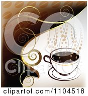 Clipart Hot Coffee Cup With Steam And Swirls 2 Royalty Free Vector Illustration by merlinul #COLLC1104518-0175