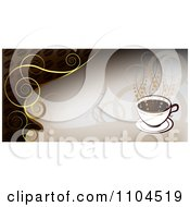 Clipart Hot Coffee Cup Banner With Steam And Swirls 1 Royalty Free Vector Illustration