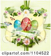 Clipart Happy Easter And Eggs In A Floral Frame Over Diagonal Stripes Royalty Free Vector Illustration