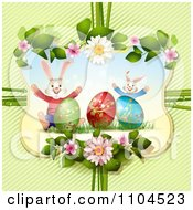 Happy Easter Bunnies And Eggs In A Floral Frame Over Diagonal Stripes
