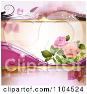 Pink Rose Background With Dew And Tiles