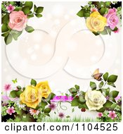 Pastel Pink Background With Lights Butterflies And Roses With Copyspace