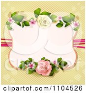 Pastel Pink Rose Frame Over Diagonal Stripes And Hearts