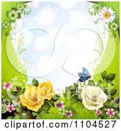 Frame With Roses Blossoms Daisies And Butterflies On Green