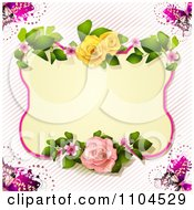 Rose Frame With Butterflies Over Diagonal Stripes