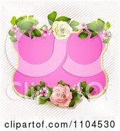 Pink Rose Frame With Diagonal Stripes