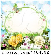 Vine Frame With Roses Vines Blossoms And Butterflies On Blue With Rays
