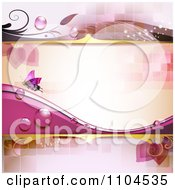 Clipart Pink Background With A Butterfly Dew And Tiles Royalty Free Vector Illustration by merlinul