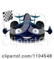 Clipart 3d Blue Race Car Facing Front With A Checkered Flag Royalty Free CGI Illustration by Julos