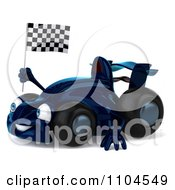 Clipart 3d Blue Race Car Facing Left With A Checkered Flag Royalty Free CGI Illustration by Julos