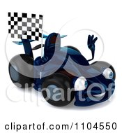 Clipart 3d Waving Blue Race Car With A Checkered Flag Royalty Free CGI Illustration by Julos
