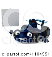 Clipart 3d Blue Race Car With A Sign 1 Royalty Free CGI Illustration by Julos