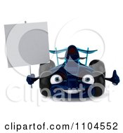 Clipart 3d Blue Race Car With A Sign 2 Royalty Free CGI Illustration by Julos