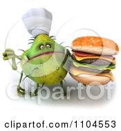 Clipart 3d Green Chef Monster Germ Holding A Double Cheeseburger And A Thumb Down Royalty Free CGI Illustration by Julos