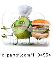 Clipart 3d Green Chef Monster Germ Holding A Double Cheeseburger And Gesturing Royalty Free CGI Illustration by Julos
