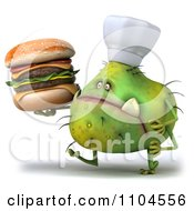 Clipart 3d Green Chef Monster Germ Holding A Double Cheeseburger And Walking Royalty Free CGI Illustration by Julos