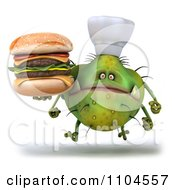 Clipart 3d Green Chef Monster Germ Holding A Double Cheeseburger And Running Royalty Free CGI Illustration by Julos