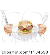 Clipart Hungry Persons Hands Holding Silverware By A Cheeseburger Royalty Free Vector Illustration by AtStockIllustration