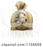 Clipart 3d Lira Pound Sterling Money Sack Royalty Free Vector Illustration by AtStockIllustration