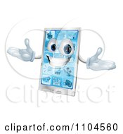 Clipart 3d Happy Silver Touch Screen Smart Cell Phone Royalty Free Vector Illustration