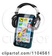 Clipart 3d Touch Screen Smartphone With App Icons And Headphones Royalty Free Vector Illustration