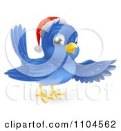 Clipart Happy Christmas Blue Bird Wearing A Santa Hat And Presenting Royalty Free Vector Illustration