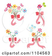 Clipart Heart Flowers With Butterflies And Pink Bows Royalty Free Vector Illustration by Cherie Reve