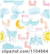 Clipart Seamless Angel Moon Cloud And Arrow Background Pattern Royalty Free Vector Illustration