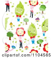 Clipart Seamless Flower Girl And Tree Man House And Star Background Pattern Royalty Free Vector Illustration by Cherie Reve