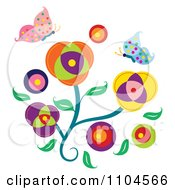 Clipart Flowers With Spotted Butterflies Royalty Free Vector Illustration by Cherie Reve