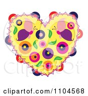 Heart With Butterflies Circles And Leaves
