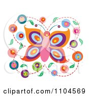 Butterfly With Circles And Leaves