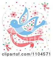 Clipart Blue Dove With A Pink Bow Confetti And Flowers Royalty Free Vector Illustration