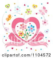 Heart Bow With Flowers Hearts And Butterflies