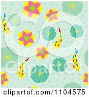 Seamless Water Lily And Koi Background Pattern