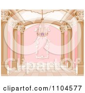 Clipart Ornate Pink And Gold Palace Interior With A Chandelier Royalty Free Vector Illustration