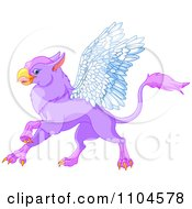 Clipart Cute Purple Griffin Fantasy Creature Royalty Free Vector Illustration