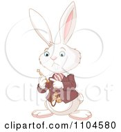 Clipart The Alice In Wonderland White Rabbit Checking His Pocket Watch Royalty Free Vector Illustration