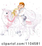 Fairy Tale Prince And Princess Wedding Couple Riding Together On A White Horse Surrounded By Heart Confetti