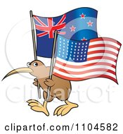 Clipart Kiwi Bird With New Zealand And American Flags Royalty Free Vector Illustration